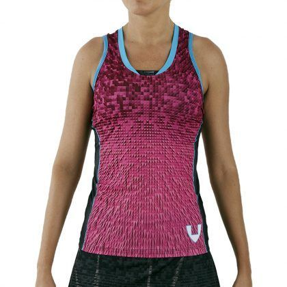 camiseta deporte técnica sin mangas rosa
