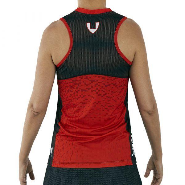 camiseta deporte técnica sin mangas roja